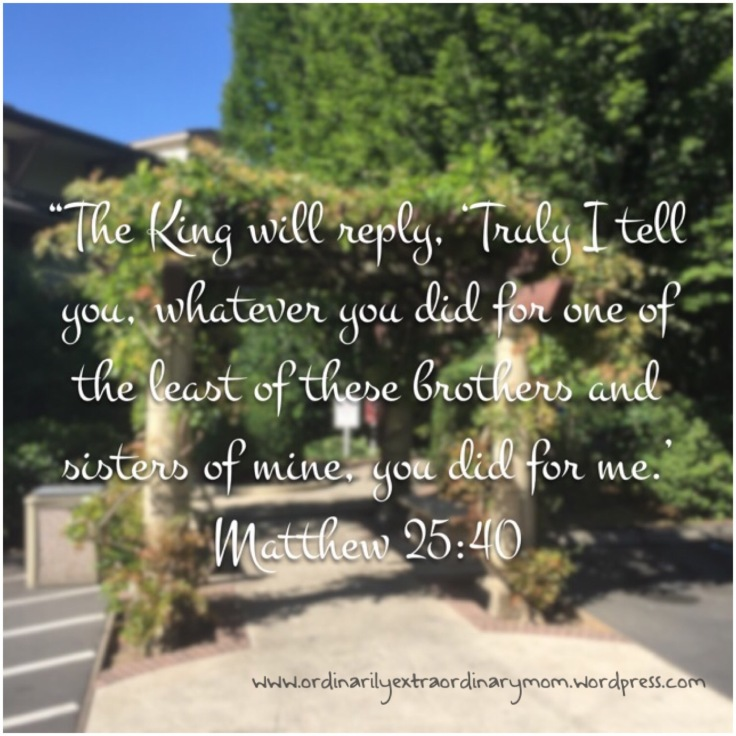 """The Kind will reply, 'Truly I tell you, whatever you did for one of the least of these brothers and sisters of mine, you did for me.'"" ~ Matthew 25:40 