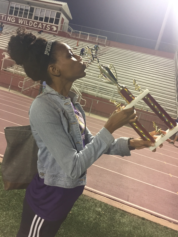Track coach enjoying her much needed win