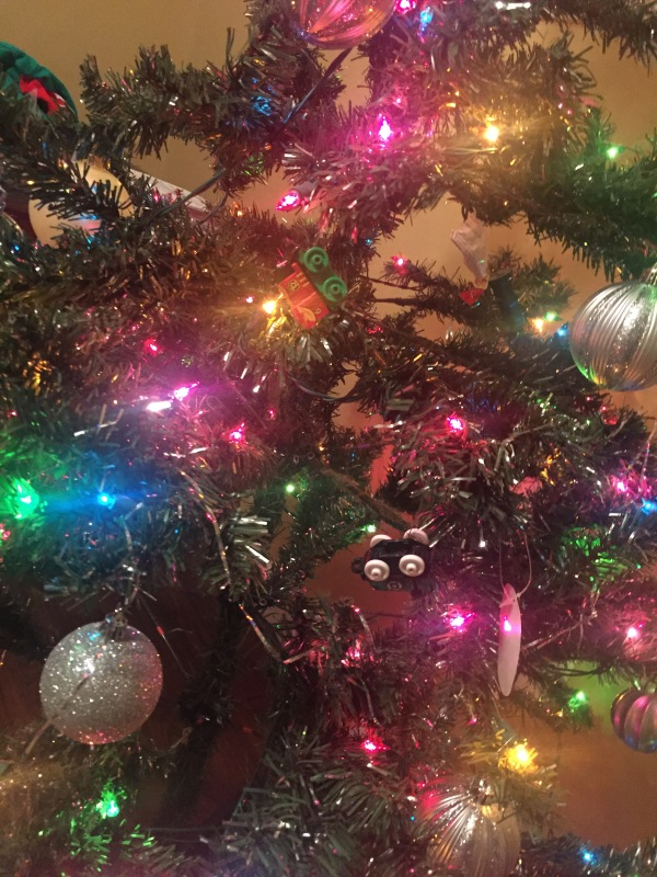 Christmas tree and lights with Thomas the Train Mini accent ornaments