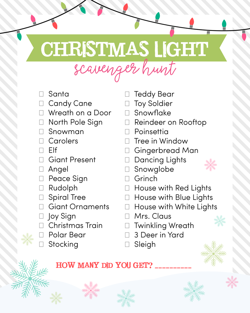 Christmas Lights Scavenger Hunt #freeactivities #freekidsactivities #freechristmasactivities #kidsactivities #freeprintable