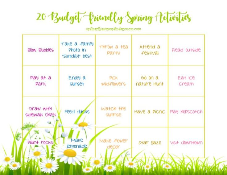 Grab your free Budget Friendly Spring Activities Printable