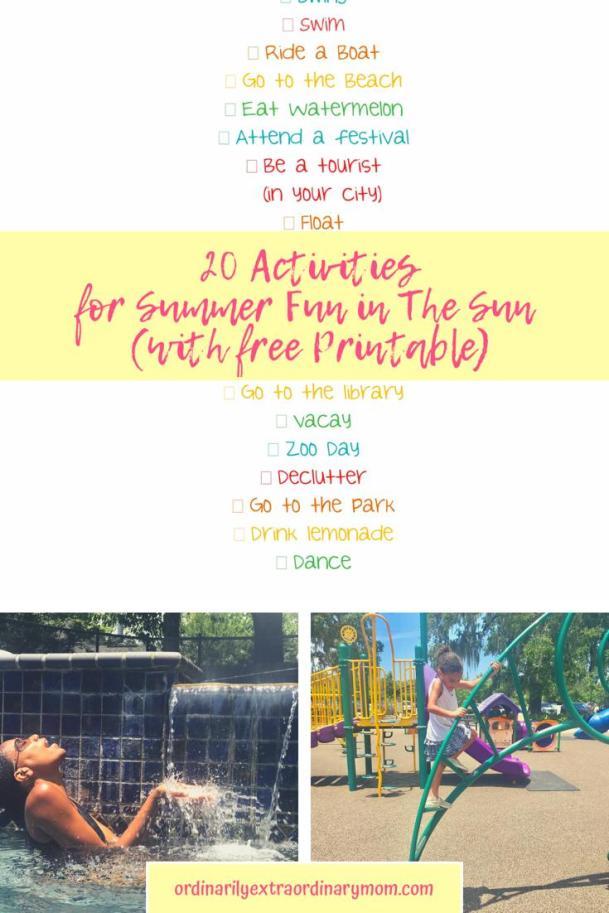20 Activities for Summer Fun in the Sun (with Free Printable) #freeprintablesummerbucketlist #summeractivities #familyactivities #budgetfriendlyactivities #summerfunideas