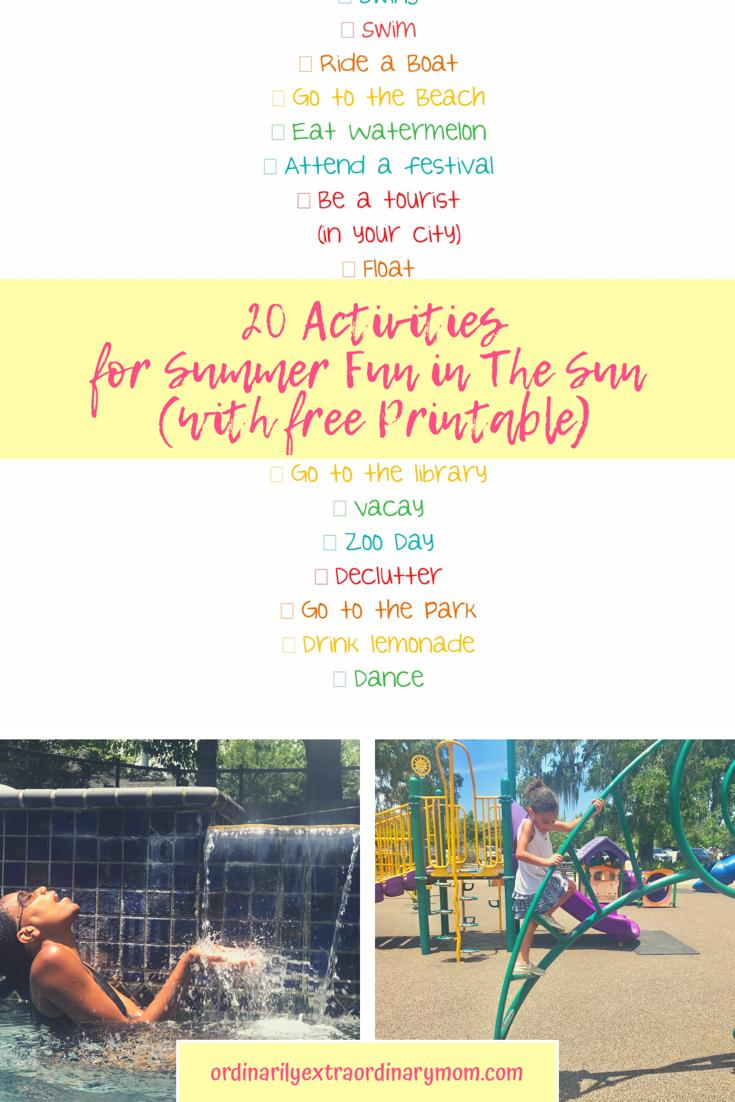20 Activities for Summer Fun in the Sun (with Free Printable) #freeprintablesummerbucketlist #summeractivities #familyactivities #budgetfriendlyactivities #summerfunideas
