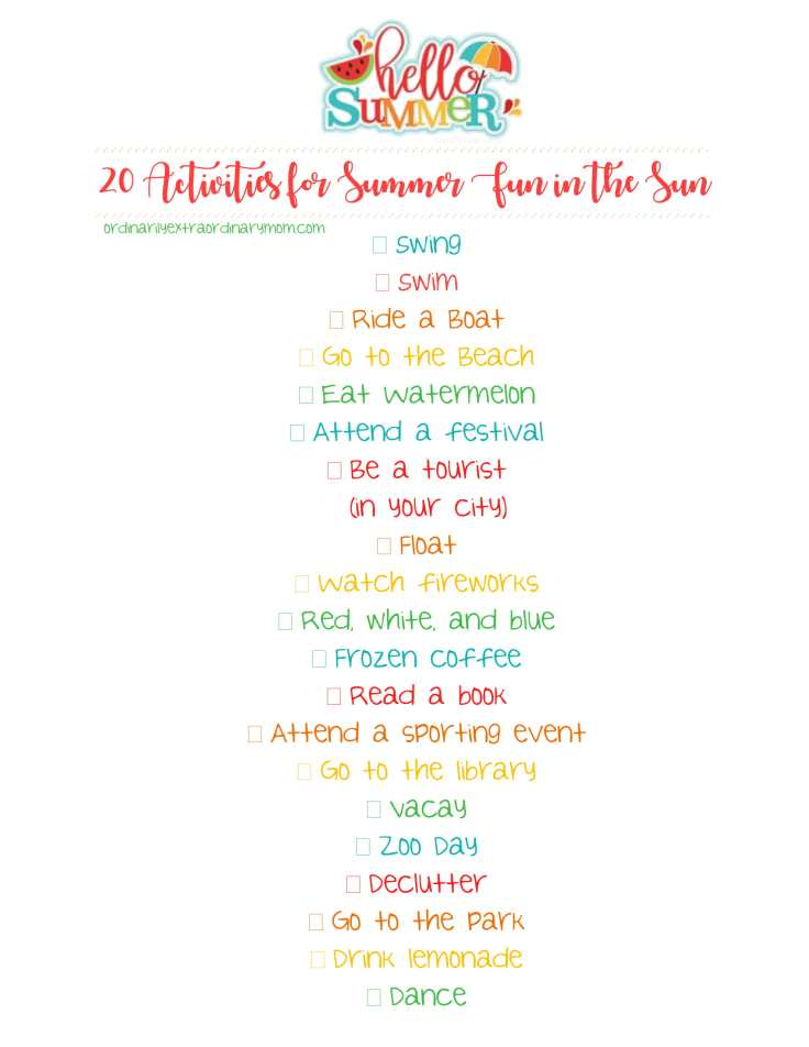 20 Activities for Summer Fun in the Sun Free Printable | ordinarilyextraordinarymom #summeractivities #summeractivitiesforchildren #christianparenting #budgetfriendlyactivities