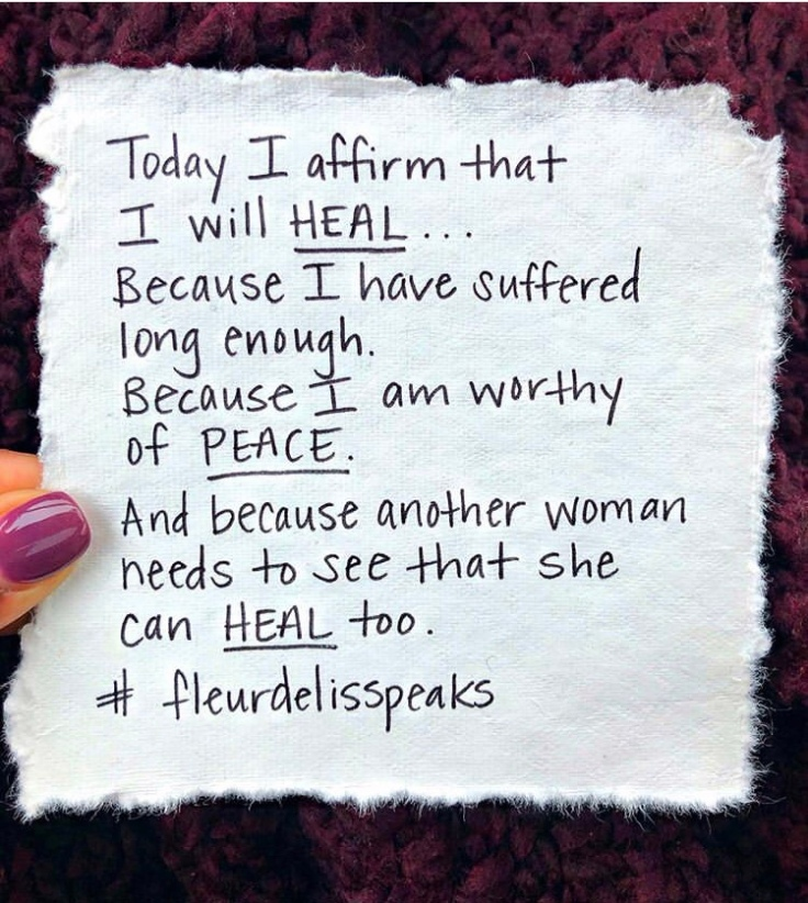 Today I affirm that I will HEAL... Because I have suffered long enough. Because I am worth of PEACE. And because another woman needs to see that she can HEAL too. #positivethinking #minimalistlifestyle #positivethoughts #growthmindset #dailyaffirmations #inspiration #motivation
