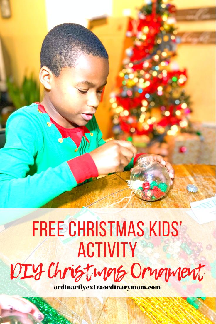 Free Christmas Kids' Activity - DIY Ornament | ordinarilyextraordinarymom #budgetfriendlychristmasactivity #christmasactivity #diyornament #diykidsactivities #diyactivity