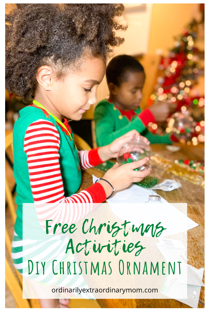 Free Christmas Kids' Activity - DIY Ornament | ordinarilyextraordinarymom #budgetfriendlychristmasactivity #christmasactivity #diyornament #diykidsactivities #diyactivity