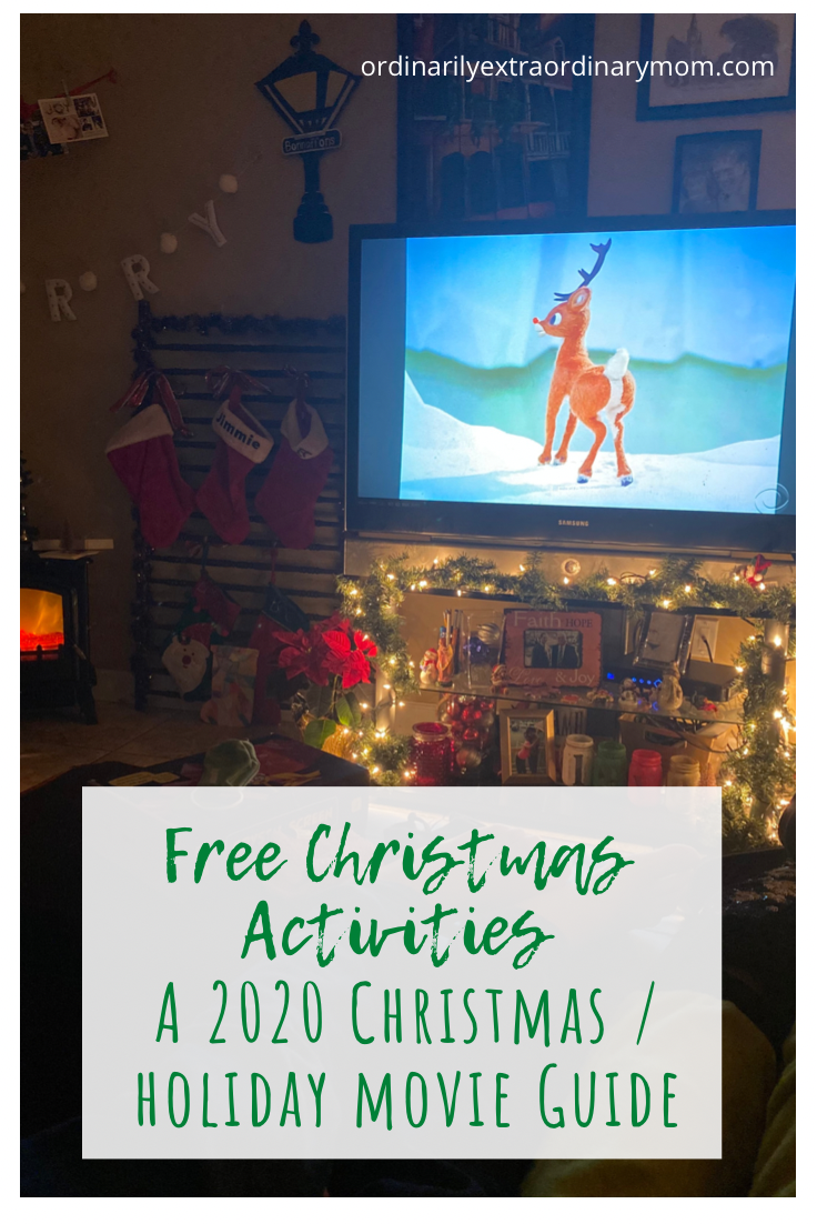 Free Christmas Activities - A 2020 Christmas/Holiday Movie Guide #christmasactivites #christmasmovieguide #christmasmovies #holidaymovieguide #freechristmasactivities
