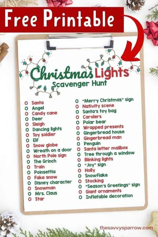 FREE Christmas Lights Scavenger Hunt #freeprintable #freechristmasprintable #freechristmasactivities #freekidsactivites #kidsactivites #christmasactivities #christmasscavengerhunt